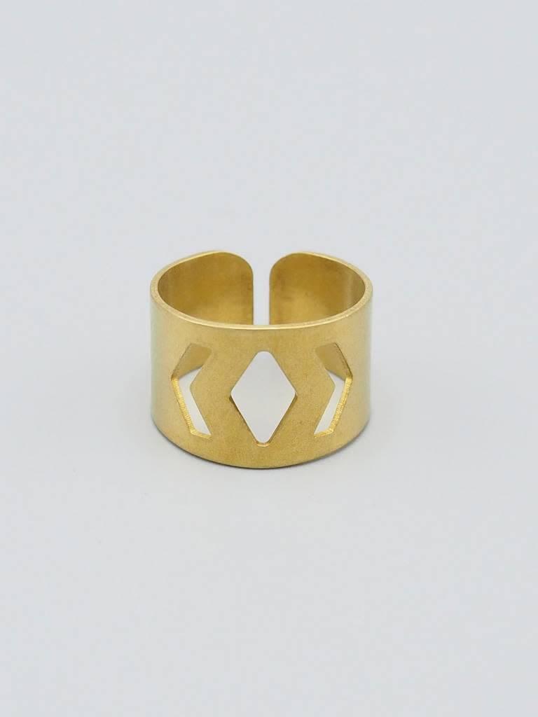 Geo Brass Ring Cuff
