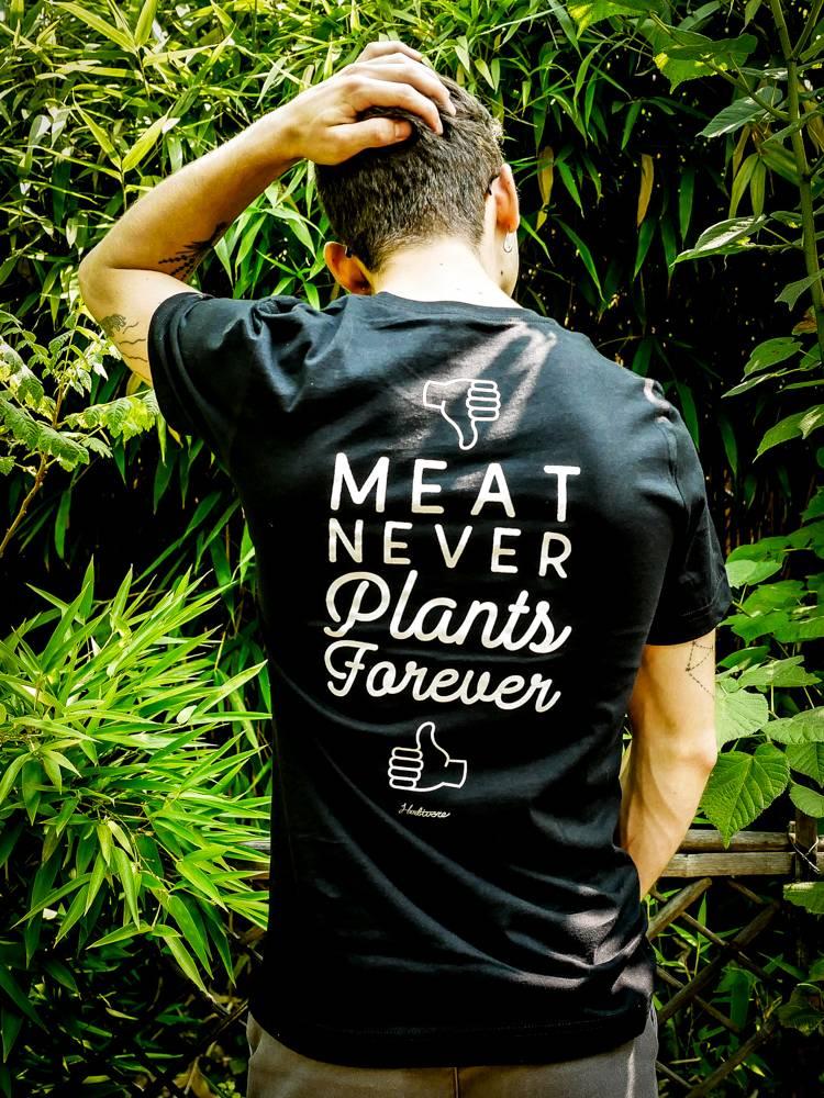 Meat Never, Plants Forever Unisex Pocket Tee