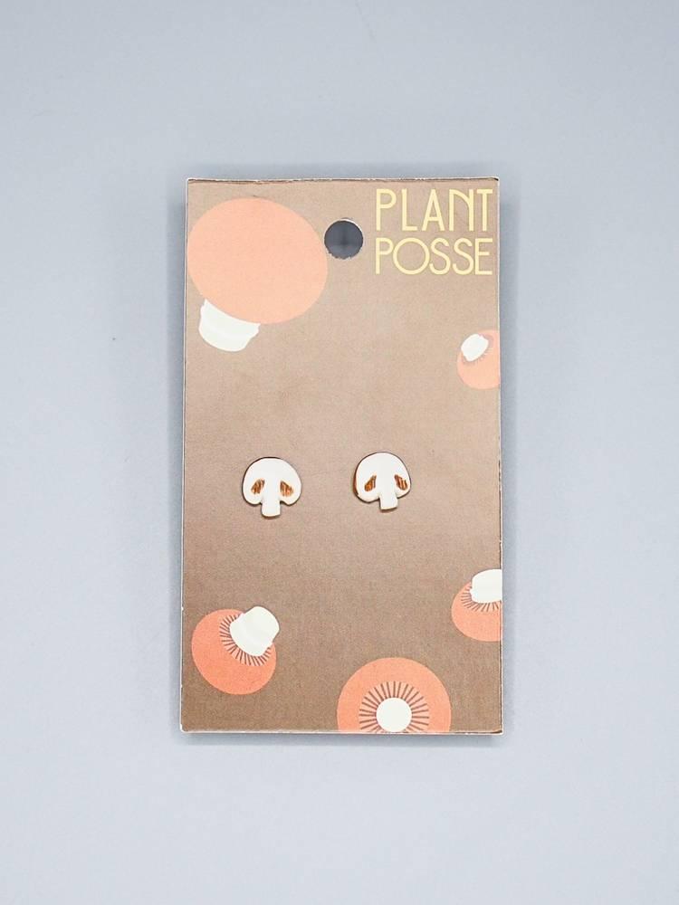 Plant Posse Crimini Mushroom Post Earrings