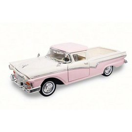 Road Signature Road Signature 1957 Ford Ranchero Pink And White 1:18 Scale Diecast Model Car