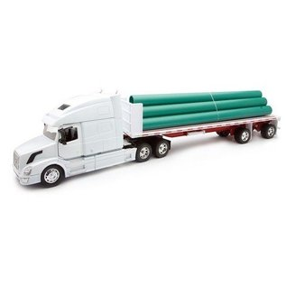 New Ray Volvo VN780 Flatbed With Long Pipes White New Ray 1:32