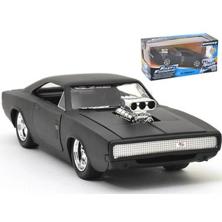 Jada Toys Dom's 1970 Dodge Charger R/T Primer Black Fast & Furious Jada 1:24 Scale Diecast Model Car