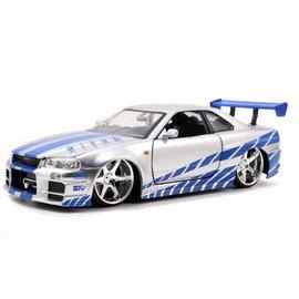 Jada Toys Brians Nissan Skyline GT-R R34 in Silver Fast & Furious Jada 1:24 Scale Diecast Model Car