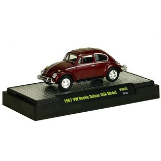 M2 Machines M2 1967 VW Beetle Deluxe USA Model In Burgundy 1:64 Scale Diecast Model Car