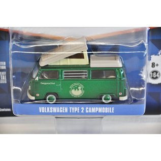 Greenlight Collectibles Volkswagen Type 2 Campmobile Green Chase Exclusive Club V-Dub Greenlight 1:64 Scale Diecast Model Car