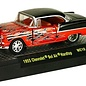M2 Machines M2 1955 Chevrolet Bel Air Hardtop Orange With Black Flames Wild Cards 10 1:64 Scale Diecast Model Car