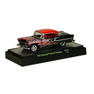 M2 Machines M2 1955 Chevrolet Bel Air Hardtop Black With Red Flames Wild Cards Release 10 1:64 Scale Diecast Model Car