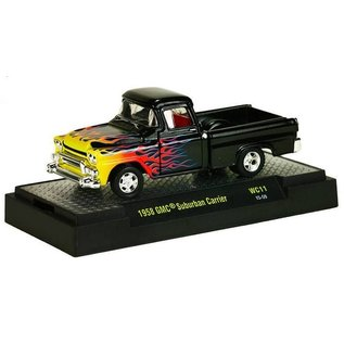 M2 Machines M2 1958 GMC Suburban Carrier Black With Flames Wild Cards Release 11 1:64 Scale Diecast Model Car
