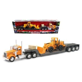 New Ray New Ray Kenworth W900 Construction With Plasitc Wheel Loader Orange 1:32 Scale Diecast Model Truck