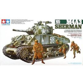 Tamiya Tamiya M4A3 Sherman Tank With 105mm Howitzer 1:35 Scale Plastic Model Kit