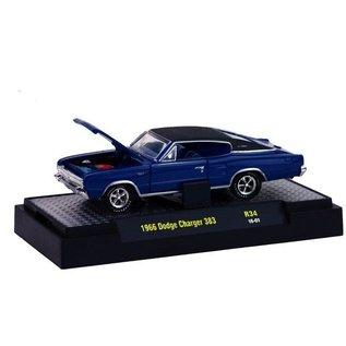 M2 Machines M2 Machines 1966 Dodge Charger 383 Blue Detroit Muscle 1:64 Scale Diecast Model Car