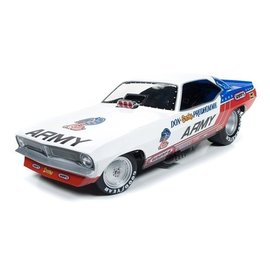 Auto World Auto World Legends Of The Quarter Mile 1973 Plymouth Cuda Funny Car Don Prudhomme Army 1:18 Scale Diecast And Plastic Model Car