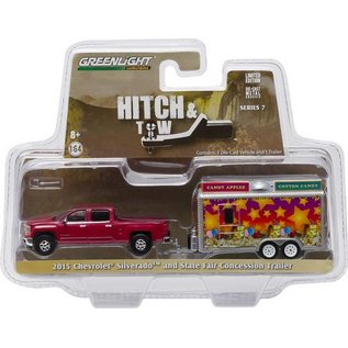 Greenlight Collectibles Greenlight Hitch & Tow 2015 Chevrolet Silverado And State Fair Concession Trailer 1:64 Scale Diecast Model Car
