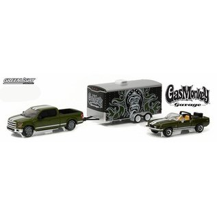 Greenlight Collectibles Greenlight Gas Monkey Garage 1968 Shelby GT500KR 2015 Ford F-150 Enclosed Car Hauler 3 Car Set 1:64 Scale Diecast Model Car