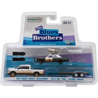 Greenlight Collectibles Greenlight 1974 Dodge Monaco Bluesmobile, 2015 Dodge Ram 1500, Flatbed Trailer The Blues Brothers 3 Pack 1:64 Scale Diecast Model Car Set