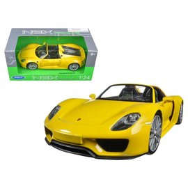 Welly Die Casting Welly Porsche 918 Spyder Yellow 1:24 Scale Diecast Model Car