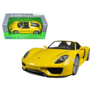 Welly Die Casting Welly Porsche 918 Spyder Yellow 1:24 Scale Diecast Model Car