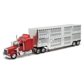 New Ray New Ray Kenworth W900  Chrome Pot Belly Livestock Trailer Red 1:32 Scale Diecast And Plastic Model Truck