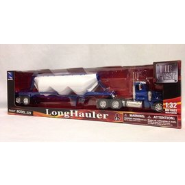 New Ray New Ray Peterbilt Model 379 Blue Pneumatic Dry Bulk Trailer 1:32 Scale Diecast And Plastic Model Truck
