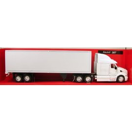 New Ray New Ray Peterbilt 387 White With White Freight Trailer 1:32 Scale Diecast Model Truck