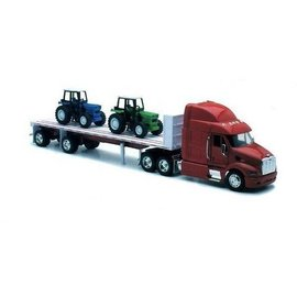 New Ray New Ray Peterbilt 387 Red Cab With 2 Piece Farm Tractors With Flatbed Trailer 1:32 Scale Diecast Model Truck