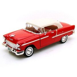 Motor Max 1955 Chevy Bel Air Top Up Convertible in Red Motor Max 1:18 Scale Diecast Model Car