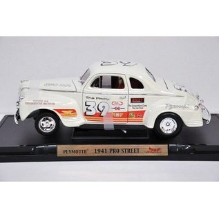Road Signature Road Signature 1941 Plymouth Pro Street #39 White 1:18 Scale Diecast Model Car