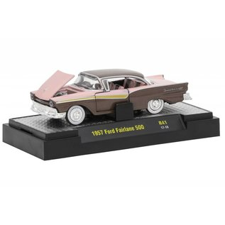 M2 Machines M2 Machines 1957 Ford Fairlane 500 Pink And Brown Auto-Thentics Series Release 41 1:64 Scale Diecast Model Car