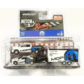 Greenlight Collectibles Greenlight Hitch & Tow MiJo Exclusive Mopar 2016 Dodge Charger SRT Hellcat & 2014 Dodge RAM 1500 Sport And Enclosed Car Hauler 1:64 Scale Diecast Model Car Set