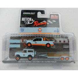 Greenlight Collectibles Greenlight Hitch & Tow Series MiJo Exclusive Gulf 1966 Ford Bronco & 2015 Ford F-150 & Flatbed Trailer 1:64 Scale Diecast Model Car