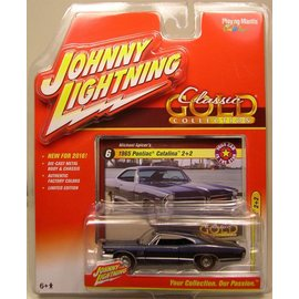 Johnny Lightning Johnny Lightning 1965 Pontiac Catalina 2+2 Dark Blue Classic Gold 2016 Series 1:64 Scale Diecast Model Car