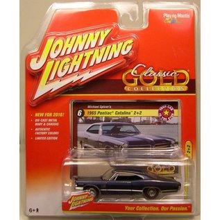 Johnny Lightning Johnny Lightning 1965 Pontiac Catalina 2+2 Dark Blue Classic Gold 2016 Series 1:64 Scale Diecast Model Car