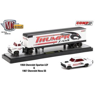 M2 Machines M2 Machines Auto Haulers Series Release 22 1958 Chevrolet Spartan LCF And 1967 Chevrolet Nova SS Thumper Cams 1:64 Scale Diecast Model Set
