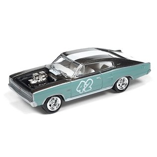 Johnny Lightning Johnny Lightning 1966 Dodge Charger #42 Light Teal And Gray The Spoilers Street Freaks 2016 Series 1:64 Scale Diecast Model Car