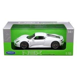 Welly Die Casting Welly Nex Models Porsche 918 Spyder White 1:18 Scale Diecast Model Car