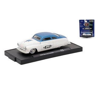 M2 Machines M2 Machines 1949 Mercury Custom in Blue Over White Mr. Gasket Co. Auto Drivers Series Release 42 1:64 Scale Diecast Model Car
