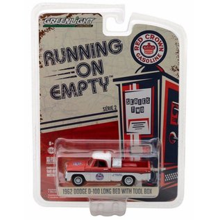Greenlight Collectibles Greenlight 1962 Dodge D-100 Long Bed With Tool Box Red Crown Gasoline Running On Empty Series Release 2 1:64 Scale Diecast Model Car