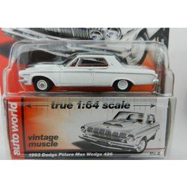 Auto World Auto World 1963 Dodge Polara Max Wedge 426 White Vintage Muscle Premium Series 2017 Release 1 1:64 Scale Diecast Model Car