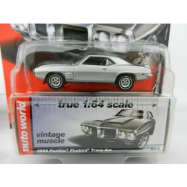 Auto World Auto World 1969 Pontiac Firebird Trans Am Silver Vintage Muscle Premium Series 2017 Release 1 1:64 Scale Diecast Model Car