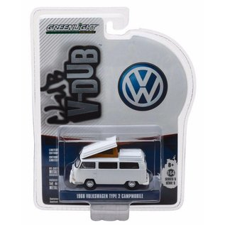 Greenlight Collectibles Greenlight 1968 Volkswagen Type 2 Campmobile White Club V-Dub Series Release 5 1:64 Scale Diecast Model Car