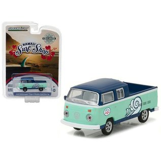 Greenlight Collectibles Greenlight 1976 Volkswagen Type 2 Double Cab Pickup Light Green Hawaii Surf Shop Hobby Exclusive 1:64 Scale Diecast Model Car
