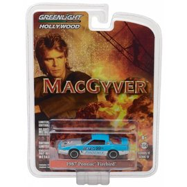 Greenlight Collectibles Greenlight 1987 Pontiac Firebird Blue MacGyver Hollywood Series Release 17 1:64 Scale Diecast Model Car