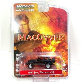 Greenlight Collectibles Greenlight 1987 Jeep Wrangler YJ Black MacGyver Hollywood Series Release 16 1:64 Scale Diecast Model Car