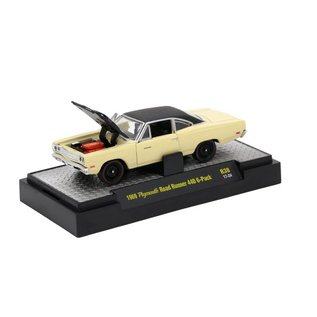M2 Machines M2 Machines 1969 Plymouth Road Runner 440 6-Pack Yellow Detroit Muscle Series Release 38 1:64 Scale Diecast Model Car