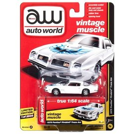 Auto World Auto World 1975 Pontiac Firebird Trans Am White Vintage Muscle 2017 Release 3 Version A 1:64 Scale Diecast Model Car