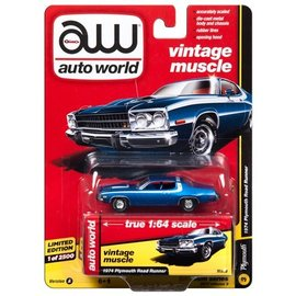 Auto World Auto World 1974 Plymouth Road Runner Blue Vintage Muscle 2017 Release 3 Version A 1:64 Scale Diecast Model Car