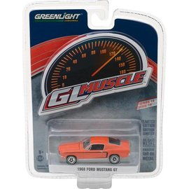 Greenlight Collectibles Greenlight 1968 Ford Mustang GT Orange GL Muscle Series 19 1:64 Scale Diecast Model Car