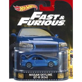 Hot Wheels Mattel Hot Wheels Nissan Skyline GT-R (R34) Fast & Furious Retro Entertainment Series 1:64 Scale Diecast Model Car