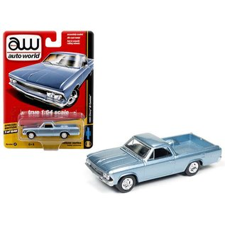 Auto World Auto World 1966 Chevy El Camino Light Blue Hobby Exclusive Deluxe Series Version B 1:64 Scale Diecast Model Car