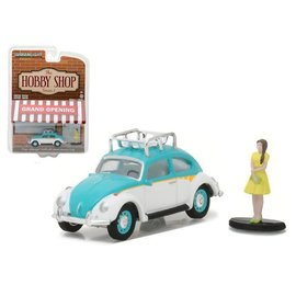 Greenlight Collectibles Greenlight Classic Volkswagen Beetle With Woman Wearing Dress The Hobby Shop Series 1 1:64 Scale Diecast Model Car